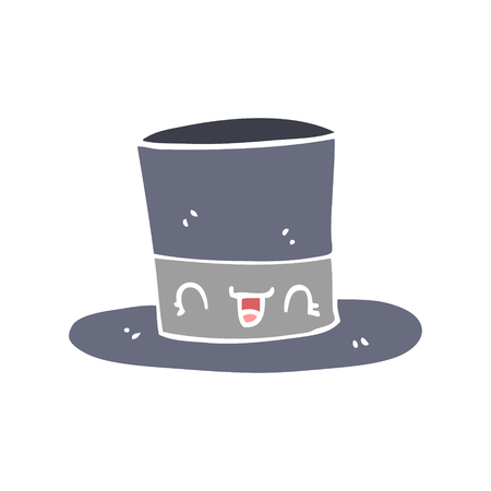 flat color style cartoon top hat