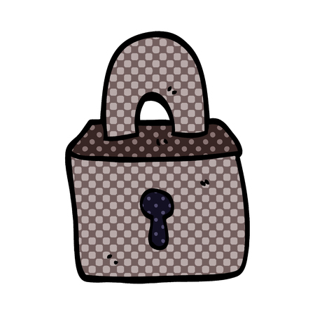 cartoon doodle padlock Stock Illustratie