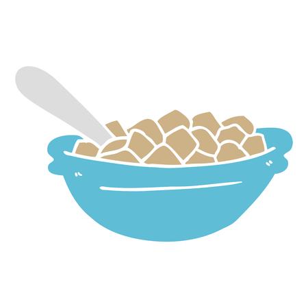 bol de céréales de dessin animé de style plat couleur Vecteurs