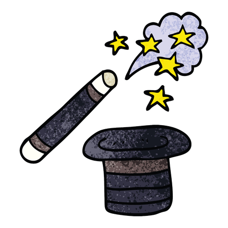 cartoon doodle magicians hat and wand Illustration
