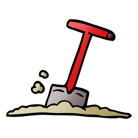 cartoon doodle shovel in dirt Ilustrace