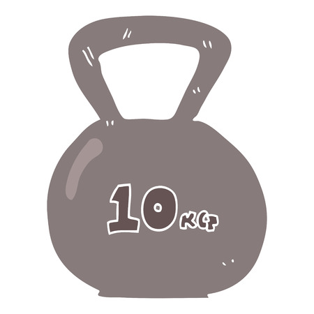 flat color illustration of 10kg kettle bell weight