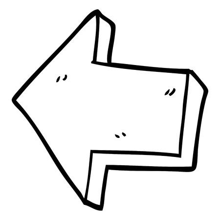 line drawing cartoon pointing arrow