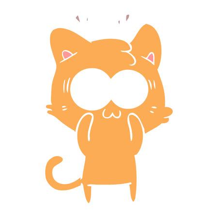flat color style cartoon surprised cat