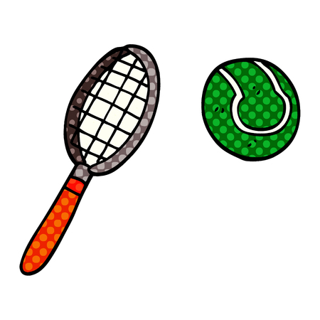 cartoon doodle tennis racket and ball