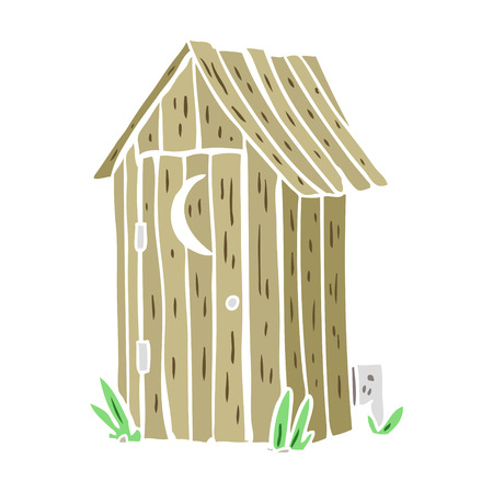 flat color style cartoon outdoor toilet  イラスト・ベクター素材