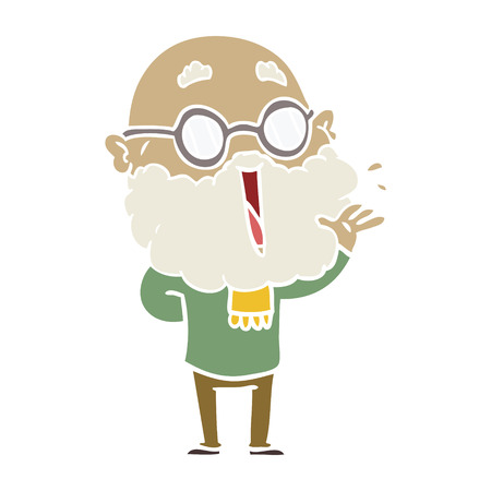 flat color style cartoon joyful man with beard Ilustração