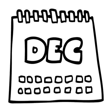 line drawing cartoon calendar showing month of december
