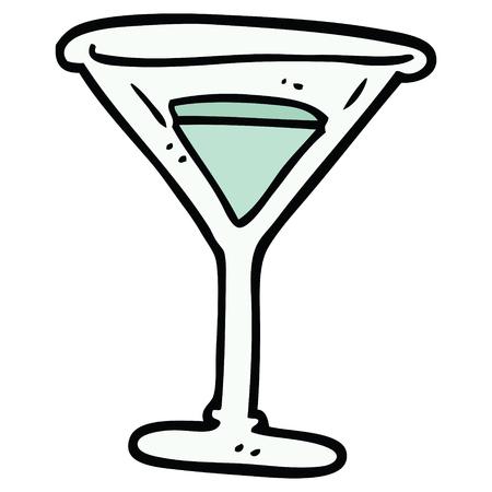 cartoon doodle martini 向量圖像