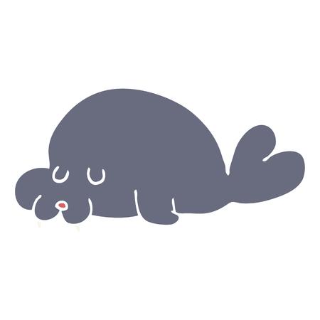 flat color style cartoon walrus 일러스트