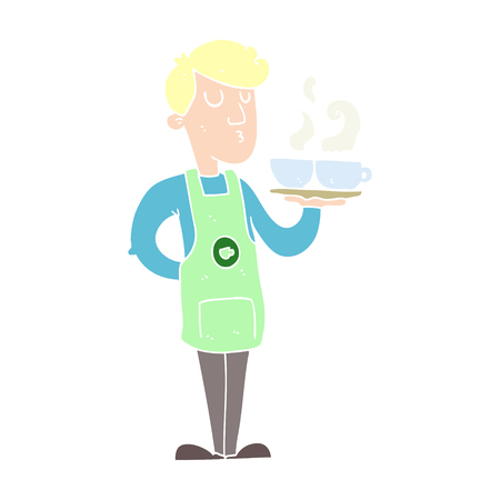 flat color illustration of barista serving coffee Stok Fotoğraf - 110785954