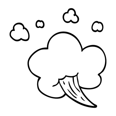 line drawing cartoon whooshing cloud