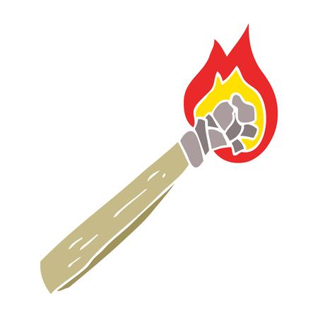 flat color illustration of burning wood torch Illusztráció
