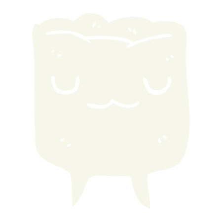 flat color style cartoon tooth