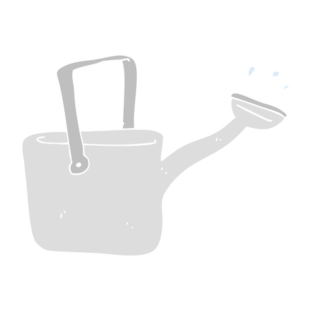 flat color illustration of watering can