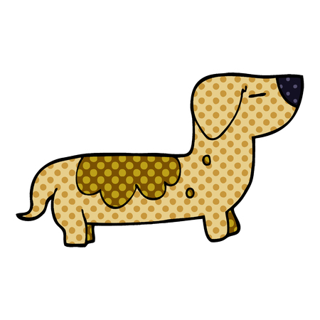 cartoon doodle sausage dog Stock Illustratie
