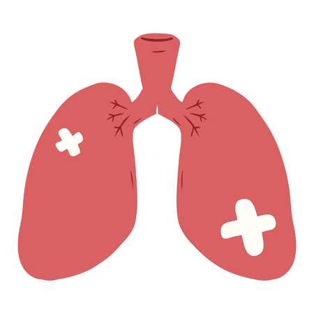 flat color style cartoon repaired lungs