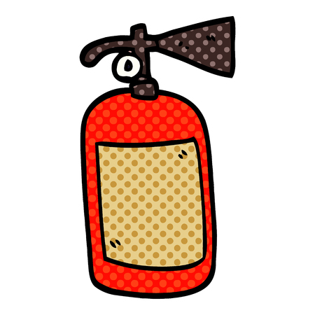 cartoon doodle fire extinguisher