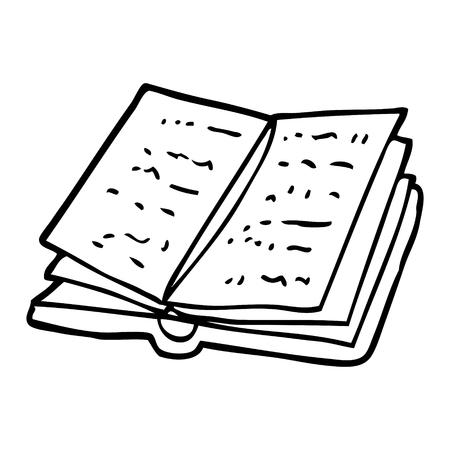 line drawing cartoon open book