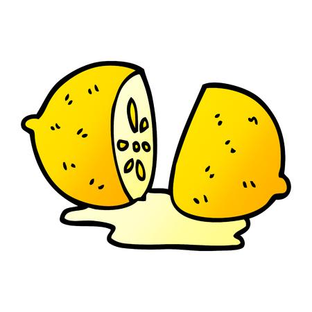 cartoon doodle sliced lemon