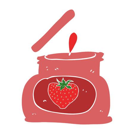flat color illustration of popping jar of jam