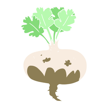 flat color illustration of muddy turnip Ilustracja
