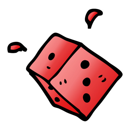 cartoon doodle rolling dice