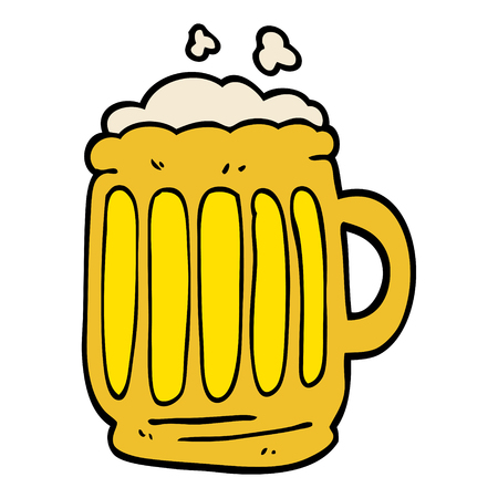 cartoon doodle tankard of beer 向量圖像