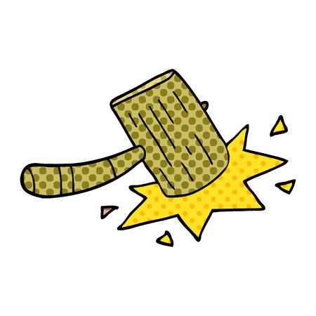 cartoon doodle wooden mallet Illustration