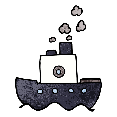 cartoon doodle steam boat