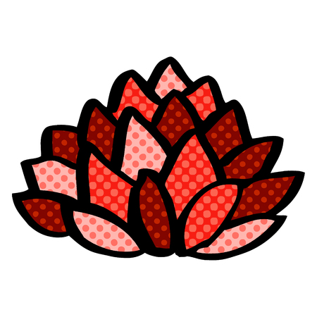 cartoon doodle flowering lotus