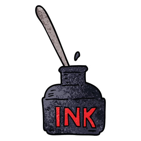cartoon doodle ink bottle Ilustrace