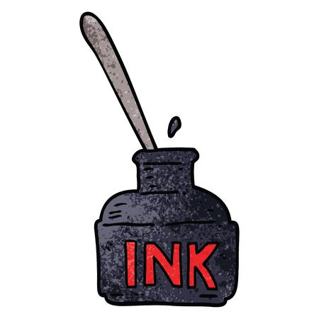 cartoon doodle ink bottle Illustration