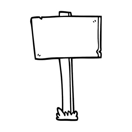 line drawing cartoon sign post Vettoriali