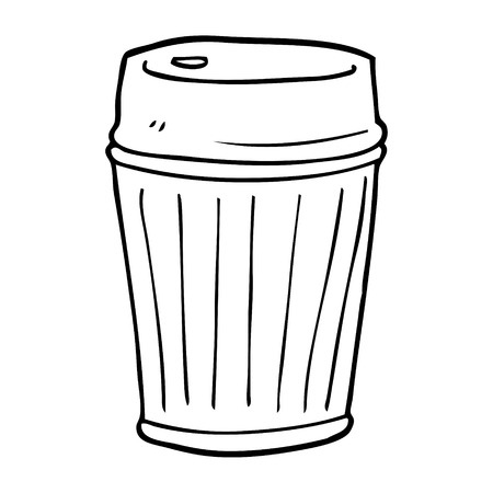 line drawing cartoon take out coffee Illustration