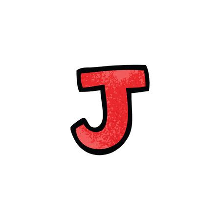 cartoon doodle letter j