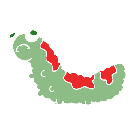 flat color style cartoon unhappy caterpillar