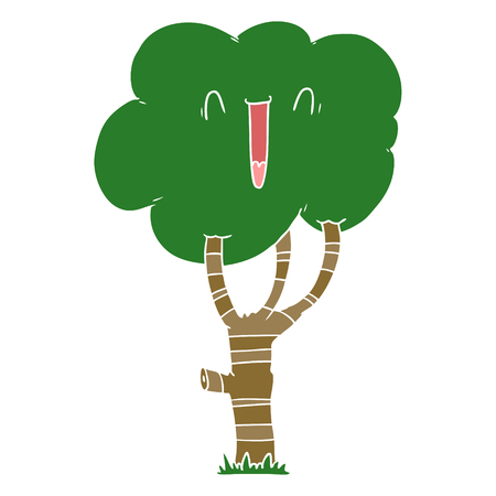 flat color style cartoon laughing tree