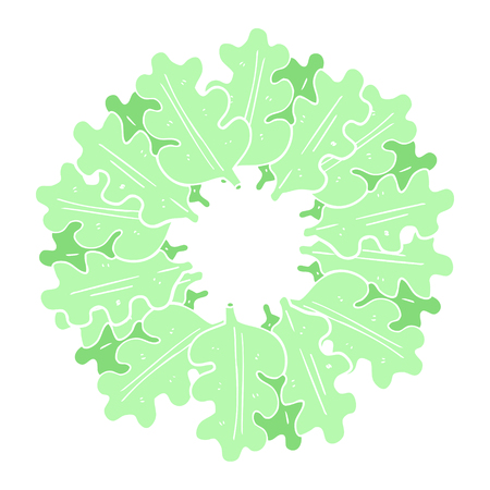 flat color illustration of oak leaves in a ring