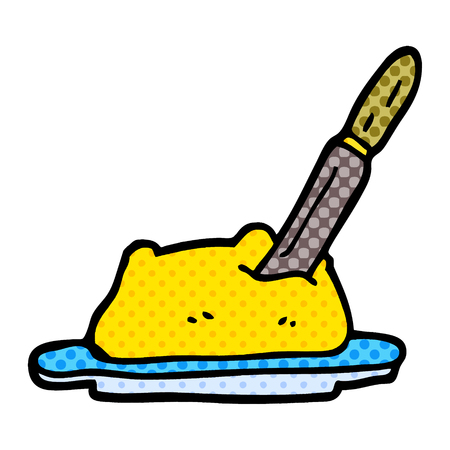 cartoon doodle butter and knife