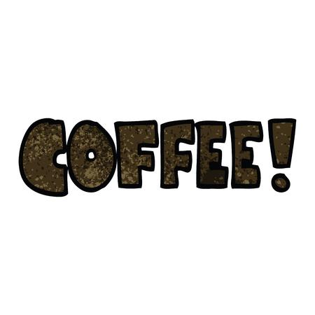 cartoon doodle word coffee