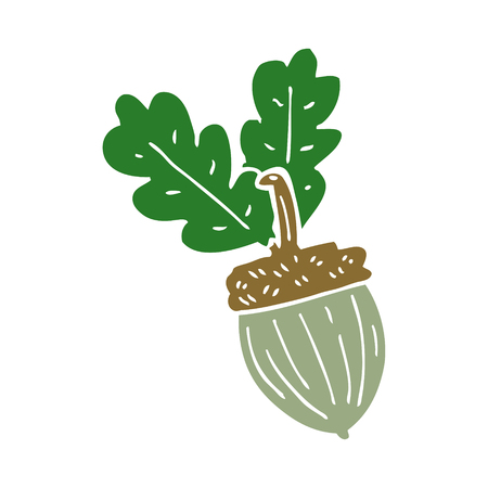 cartoon doodle acorn
