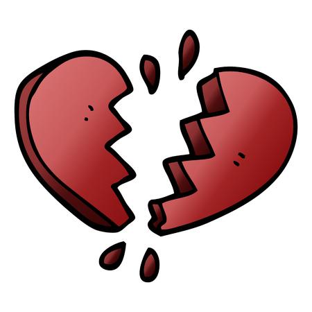 cartoon doodle broken heart