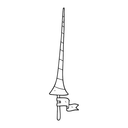 line drawing cartoon medieval lance