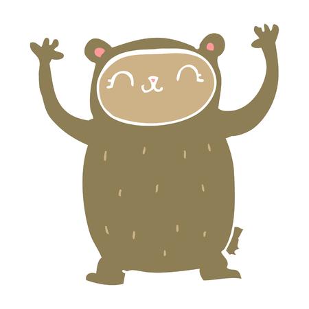 cute flat color style cartoon bear Ilustração