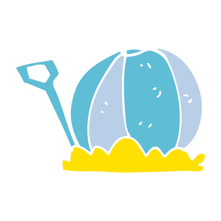 cartoon doodle beach ball and spade Illusztráció