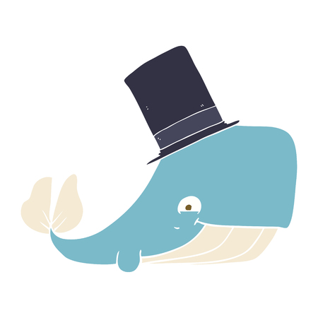 flat color illustration of whale in top hat