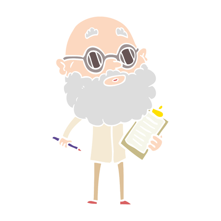 flat color style cartoon curious man with beard and sunglasses