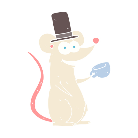 flat color illustration of mouse with teacup