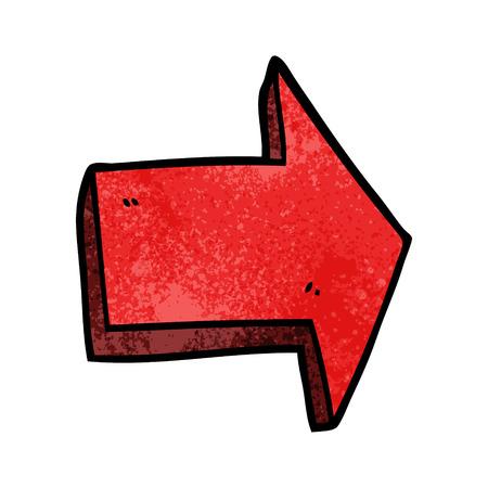 cartoon doodle pointing arrow Vektorové ilustrace